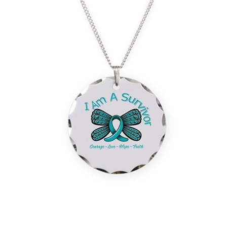 PCOS I'm A Survivor Necklace Circle Charm