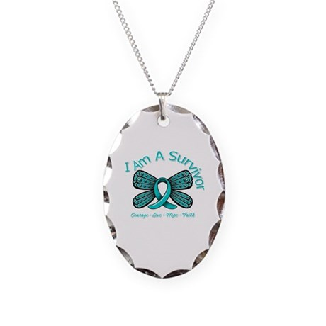 PCOS I'm A Survivor Necklace Oval Charm