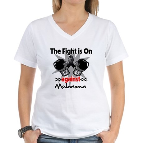Fight is On Melanoma Women's V-Neck T-Shirt