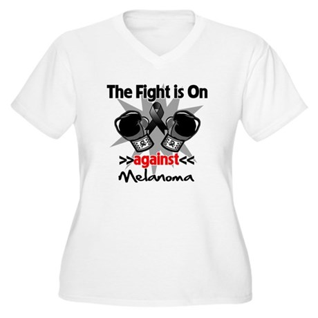 Fight is On Melanoma Women's Plus Size V-Neck T-Sh