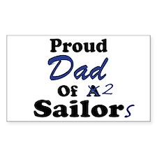 Proud Dad 2 Sailors Rectangle Decal