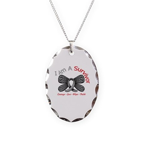 Parkinsons Disease Survivor Necklace Oval Charm