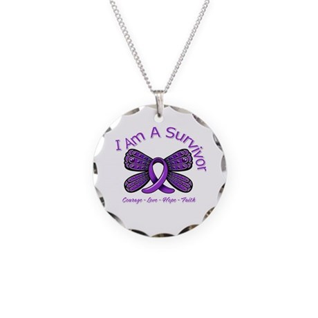 Pancreatic Cancer Survivor Necklace Circle Charm
