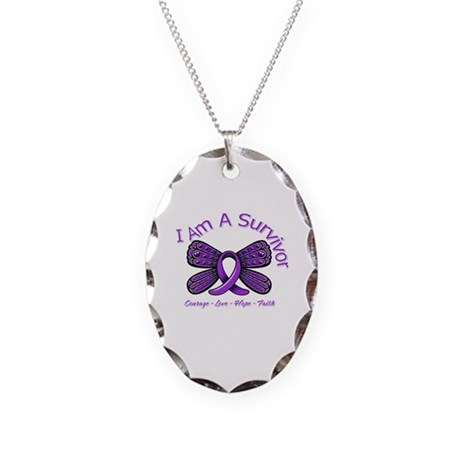 Pancreatic Cancer Survivor Necklace Oval Charm