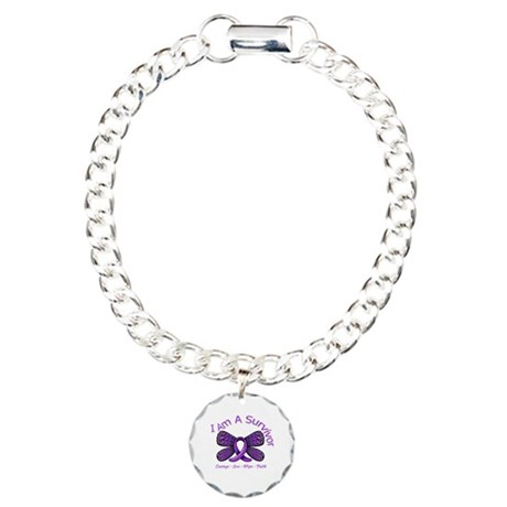 Pancreatic Cancer Survivor Charm Bracelet, One Cha