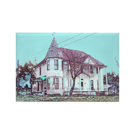 Old House on the Corner Rectangle Magnet (10 pack)