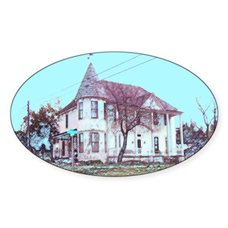 Old House on the Corner Oval Sticker