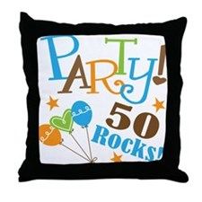 50 Rocks 50th Birthday Throw Pillow