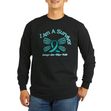 Ovarian Cancer I'm A Survivor Long Sleeve Dark T-S