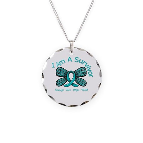 Ovarian Cancer I'm A Survivor Necklace Circle Char
