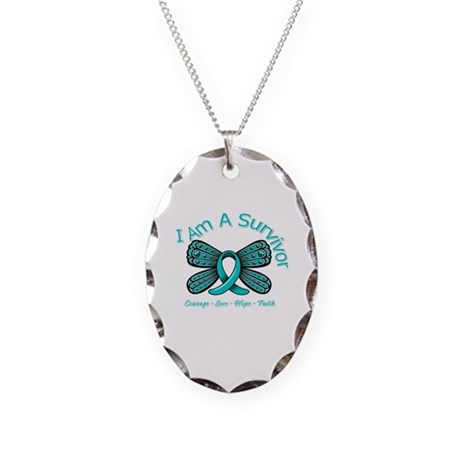 Ovarian Cancer I'm A Survivor Necklace Oval Charm