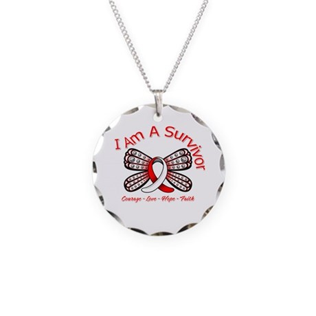Oral Cancer I'm A Survivor Necklace Circle Charm