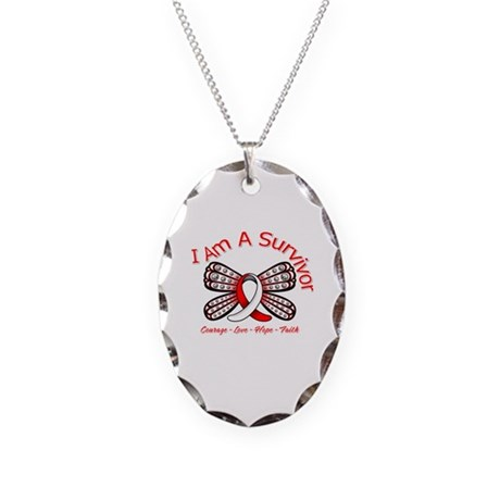 Oral Cancer I'm A Survivor Necklace Oval Charm