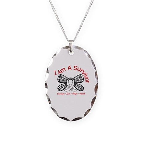 Neuroblastoma I'm A Survivor Necklace Oval Charm