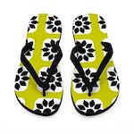 Flowered Lime, Black, White Flip Flops