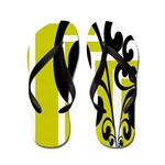 Lime, Black, White Odd Flip Flops