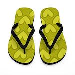Lime Green Hearts Flip Flops