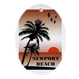 Newport Beach Sunset Oval Ornament