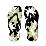 Flowered Black, Grey, White Flip Flops