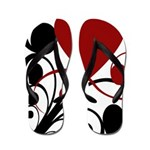 Red, Black, and White Flip Flops