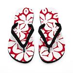 White Flowers on Red Flip Flops
