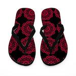 Red Doilies on Black Flip Flops