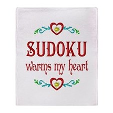 Sudoku Warms My Heart Throw Blanket