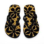 Black Flowers on Gold Flip Flops