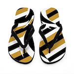 Black, White, Gold Stripes Flip Flops