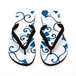 Blue on White Patterned Flip Flops