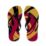 Swirly Black, Gold, and Red Flip Flops