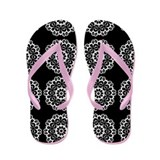 Lace Doilies on Black Flip Flops