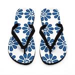 Blue Flowers on White Flip Flops