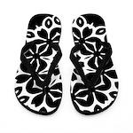 Flowered Black and White Flip Flops
