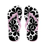 Flowered Black and White Flip Flops