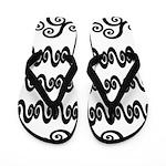 Black and White Swirly Flip Flops