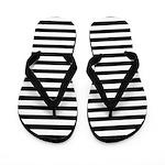 Horizontal Stripe Black and White Flip Flops
