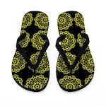 Lime Doilies on Black Flip Flops