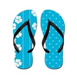 Blue Tropical Flowers and Dots Flip Flops