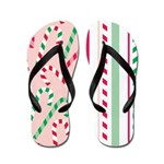 Candy Cane Stripes Holiday Flip Flops
