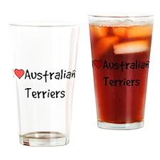 I heart Australian Terriers Drinking Glass