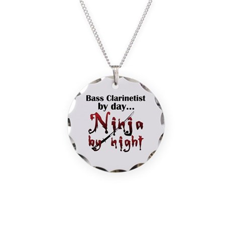 Bass Clarinet Ninja Necklace Circle Charm