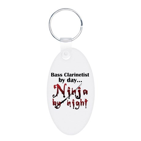 Bass Clarinet Ninja Aluminum Oval Keychain
