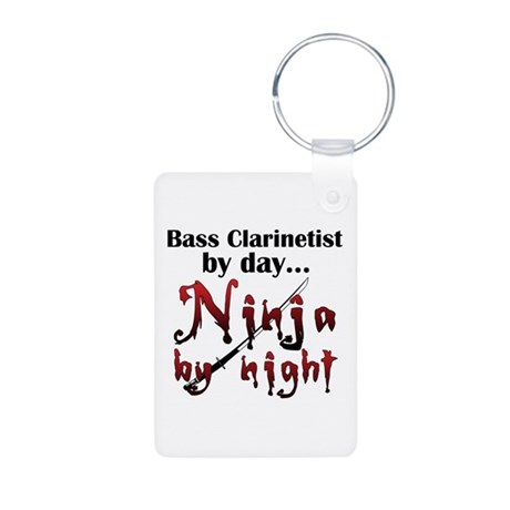 Bass Clarinet Ninja Aluminum Photo Keychain