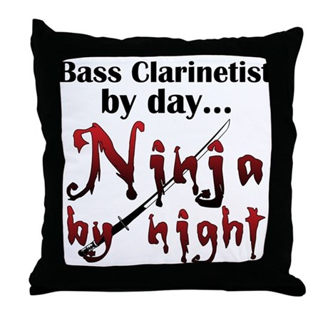 Bass Clarinet Ninja Throw Pillow
