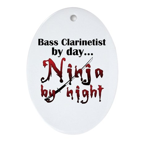 Bass Clarinet Ninja Ornament (Oval)