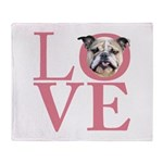 Love - Bulldog Throw Blanket