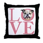 Love - Bulldog Throw Pillow