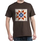 Heart Star Quilt Block Black T-Shirt