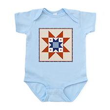 Heart Star Quilt Block Infant Creeper